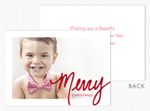 Shimmery Merry Christmas Flat Photo Holiday Cards